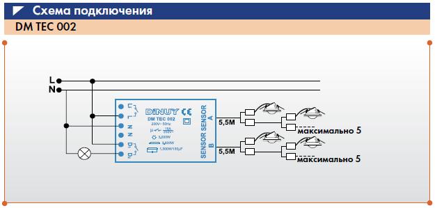 Датчик движения ИК - DINUY DM TEC 002.  360. макс.  3000 Вт (активная нагрузка, напр. лампа накаливания) .