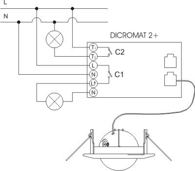 Датчик движения ORBIS DICROMAT2+, угол 360, 12м, 2х канальный, 6сек-12мин, монтаж на потолок, IP20.