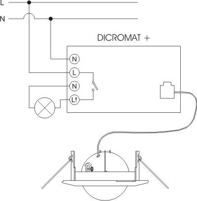Датчик движения ORBIS DICROMAT+, угол 360, 6м, 6сек-12мин, монтаж на потолок, IP20.