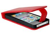 Ainy Кожаный чехол Apple iPhone 4/4S красный