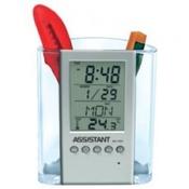 Подставка для ручек с часами: термометр, календарь, будильник, подсветка, ASSISTANT AH-1051
