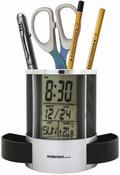Подставка для ручек с часами: термометр, календарь, будильник, отложенный сигнал звонка, цвет черный ASSISTANT AH-1053Black