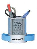 Подставка для ручек с часами: термометр, календарь, будильник, отложенный сигнал звонка, цвет синий ASSISTANT AH-1053Blue