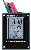 Подставка для ручек с часами: термометр, календарь, будильник, отложенный сигнал звонка ASSISTANT AH-1054