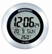 Часы многофункциональные, настенные, календарь, термометр, ж/к дисплей, металлический корпус ASSISTANT AH-2002