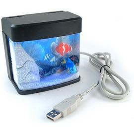 Аквариум ночник с плавающими рыбками и подсветкой PUAQ-1001