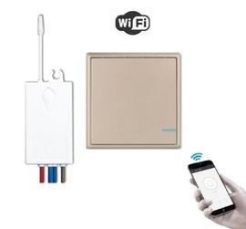 Умный выключатель 1-клавишный и 1 радиореле с WiFi управлением, золотой. Модель: Я смарт R1G