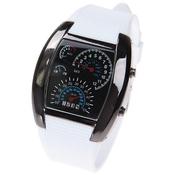 """Бинарные часы наручные """"Спидометр"""" 31Век Rain-21203-01 белые."""