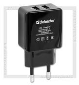 DEFENDER UPA-12 220V USBx2 5V 1000мА+2100мА, Black Зарядное устройство